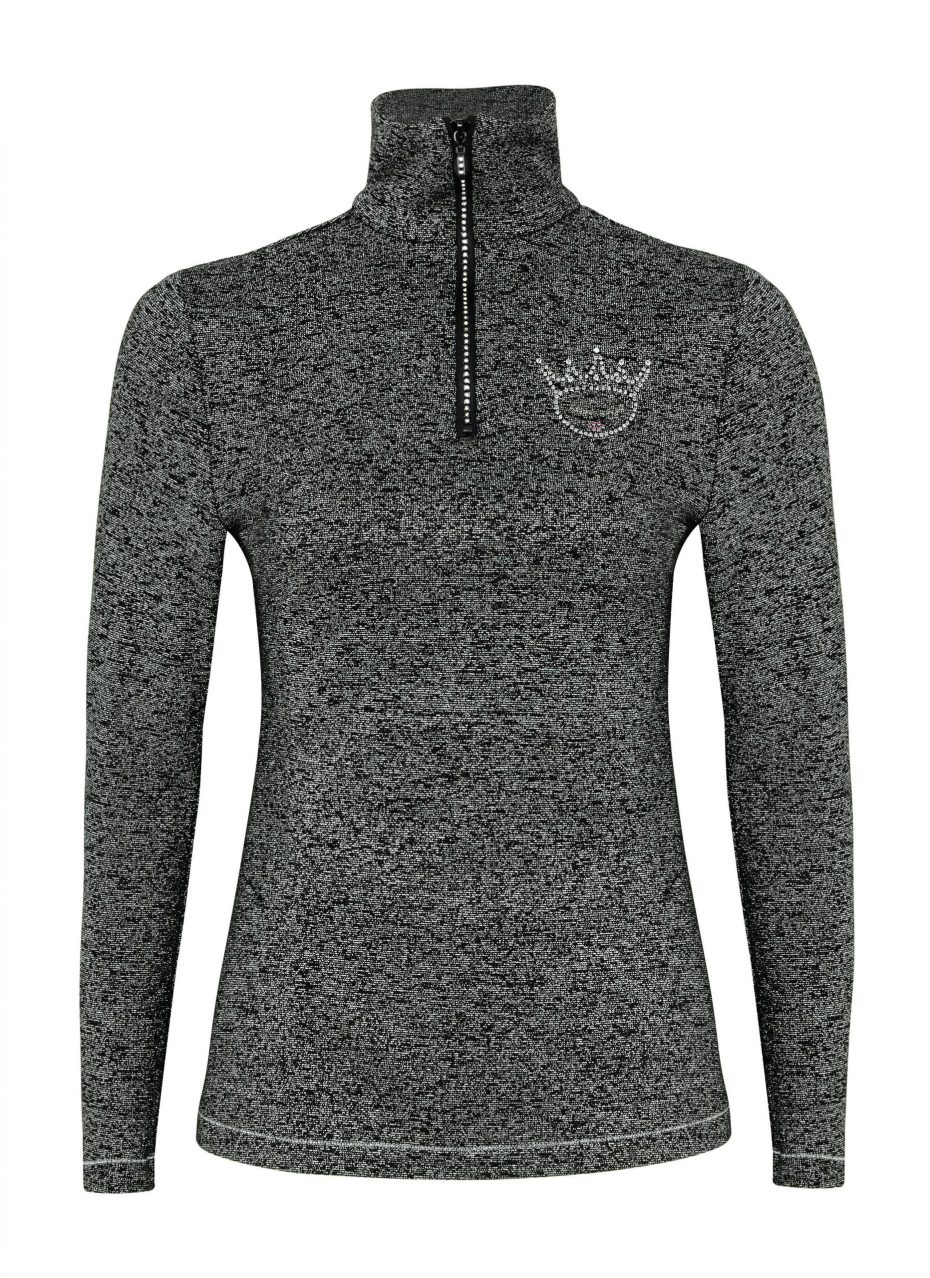 Sparkle Collection Zip Polo: Black : Last one remaining-284