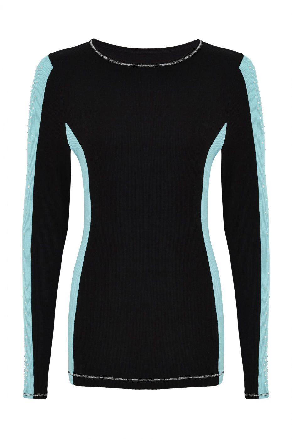 S'No Queen: DoubleStriper crew neck: Black & Tiffany Blue-337