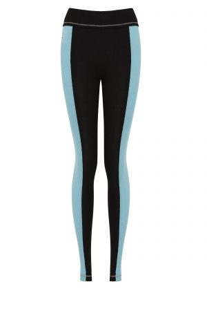 S'No Queen StripeTease leggings Black & Tiffany Blue-0