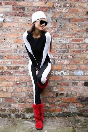 S'No Queen StripeTease leggings Black & White-0