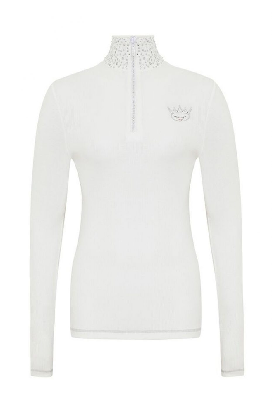 S'No Queen VIP zip polo: White LAST TWO REMAINING-389