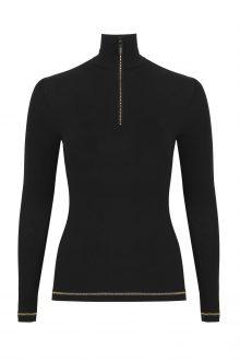 S'No Queen: Royal Zip Polo: Black & Gold -475