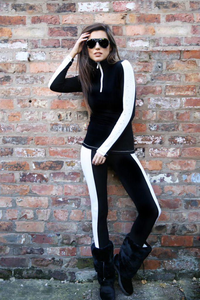 DoubleStriper Zip Polo: Black/White
