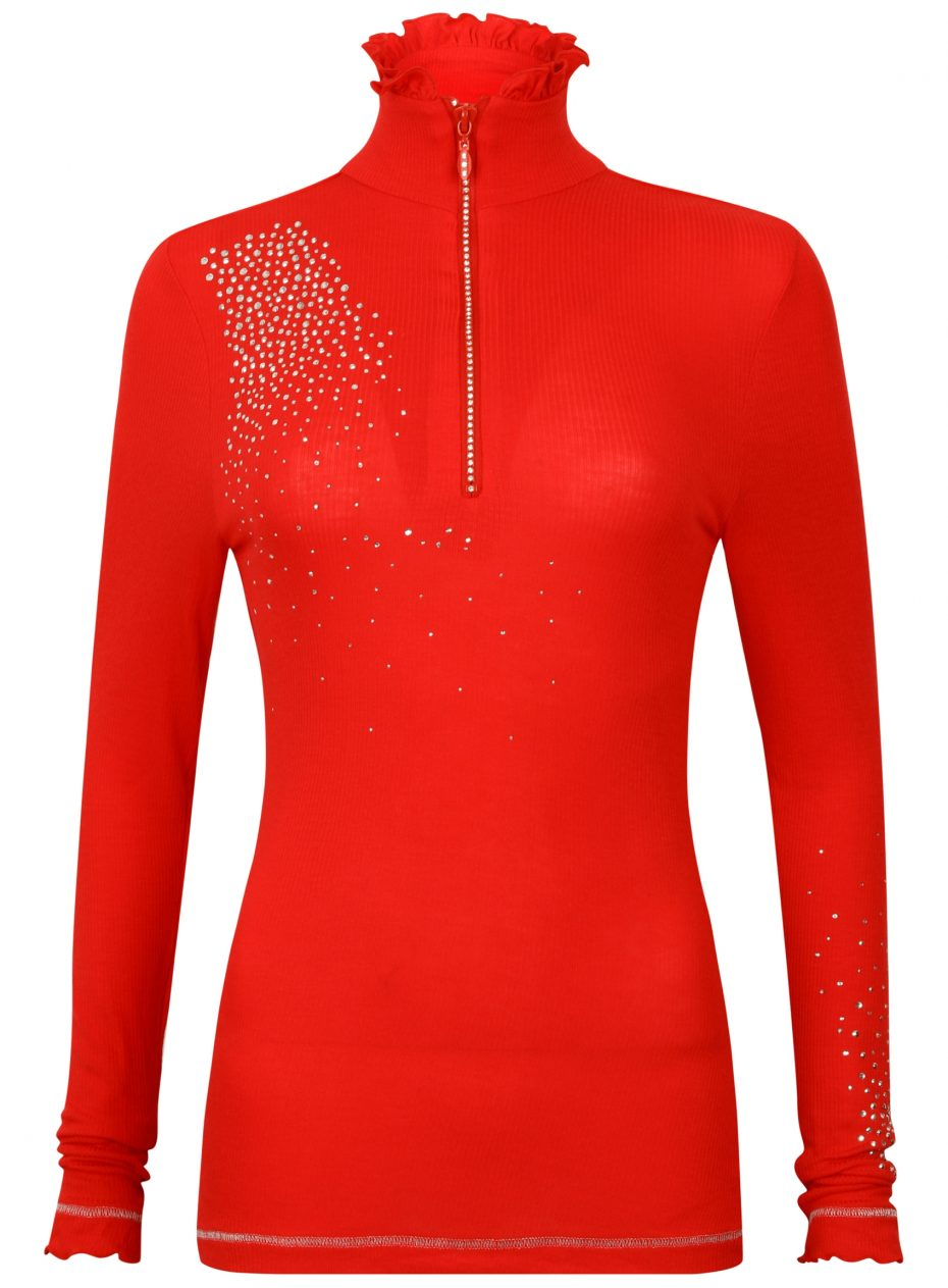 S'No Queen FRILL zip polo: RED-553