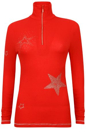S'No Queen STAR zip polo: RED -0