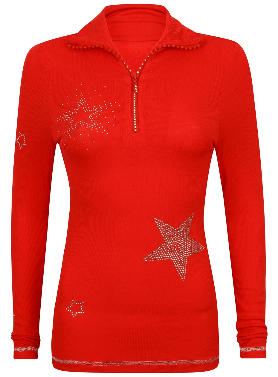 S'No Queen STAR zip polo: RED -542