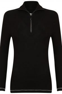 S'No Queen Royal Zip Polo: Black & Silver -535