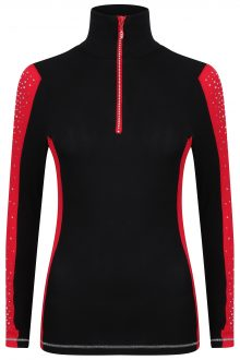S'No Queen: Doublestriper Zip Polo: Black & Red: -618