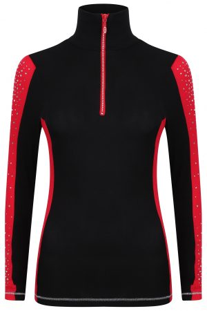 S'No Queen: Doublestriper Zip Polo: Black & Red: -618