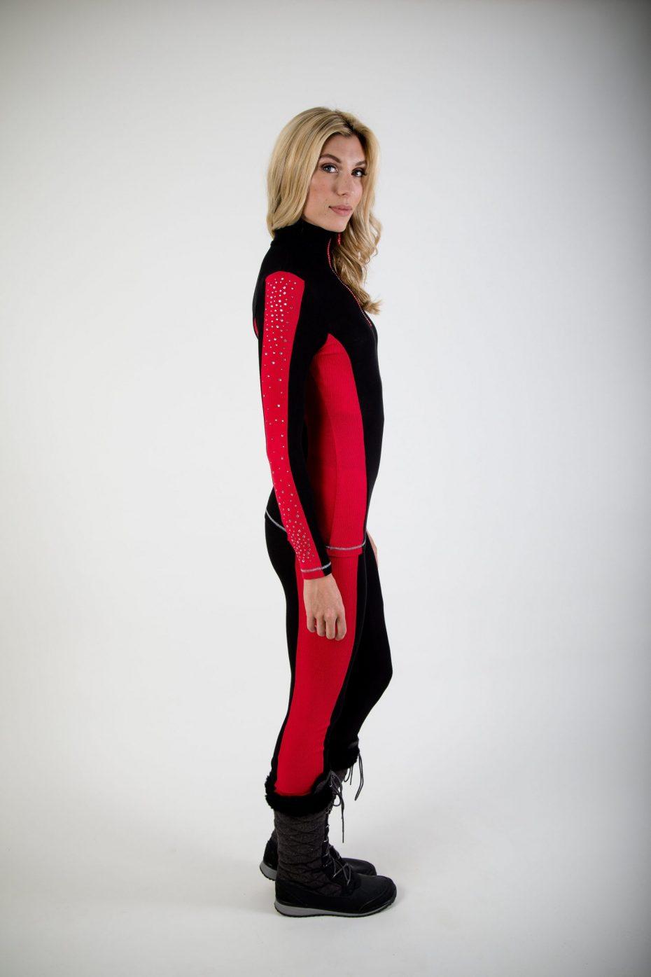S'No Queen: Doublestriper Zip Polo: Black & Red: -673