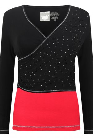 S'No Queen Eclipse V neck: Black & Red LAST ONE REMAINING-772