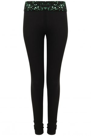 Gemini Leggings: Black & Green Limited edition-0