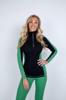 Green double striper striptease zip polo