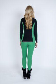 S'No Queen Doublestriper Striptease green polo and leggings back