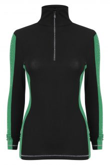 S'No Queen: Doublestriper green and black thermal base layer top