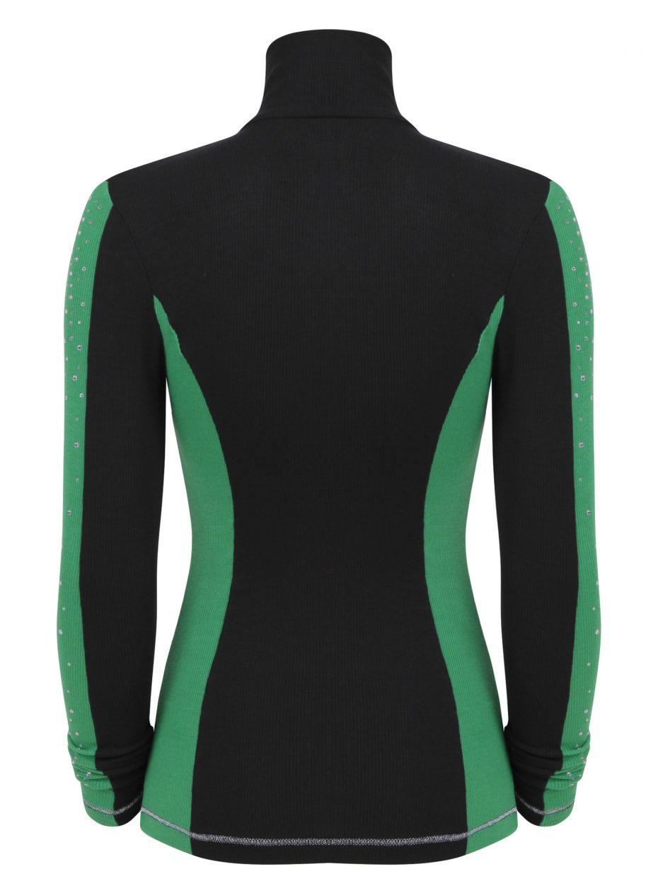 S'No Queen: Doublestriper zip polo: Black & Garden Green SQ EXCLUSIVE-814