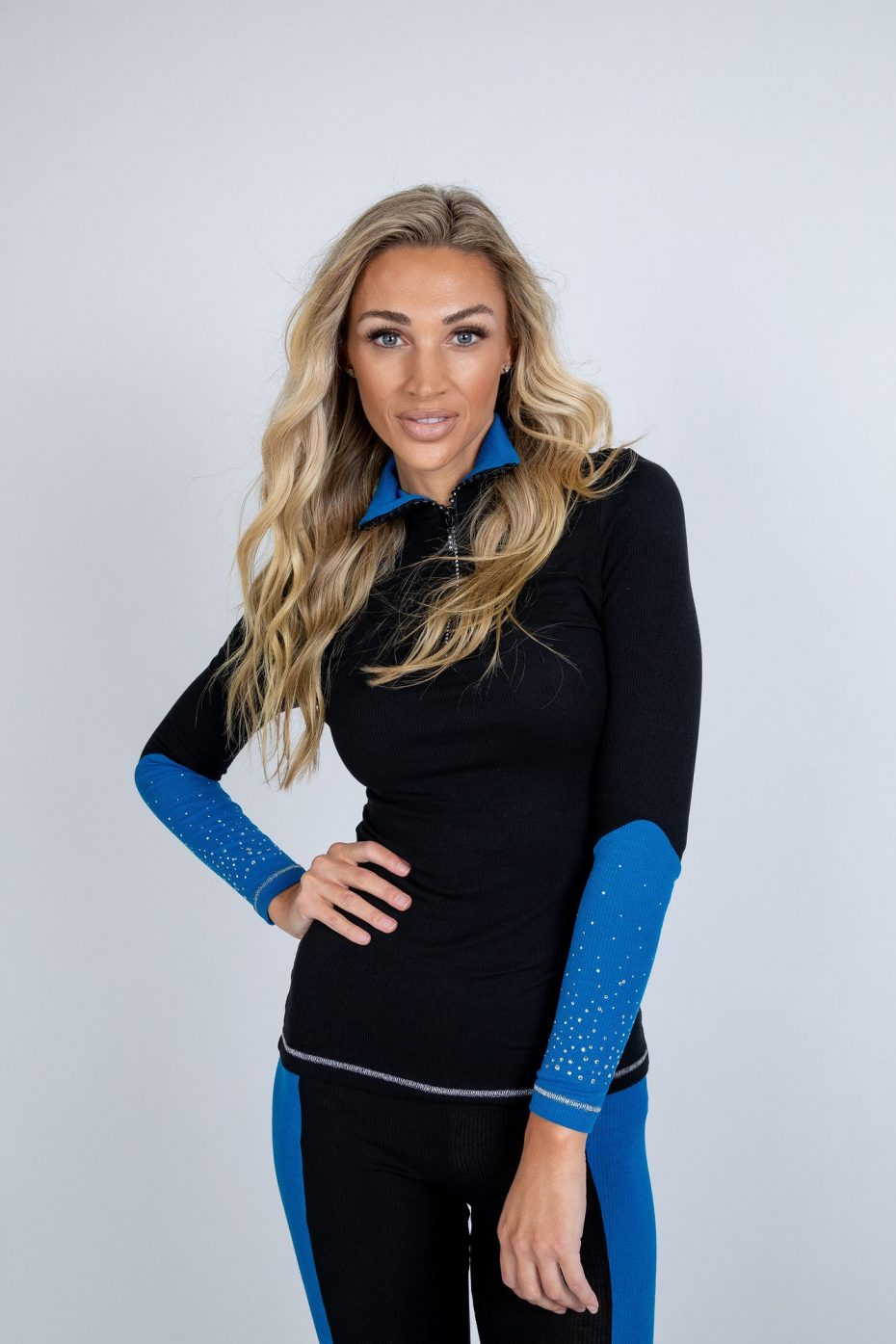 Black and Blue Zip Polo