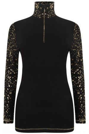 S'No Queen gold zip polo